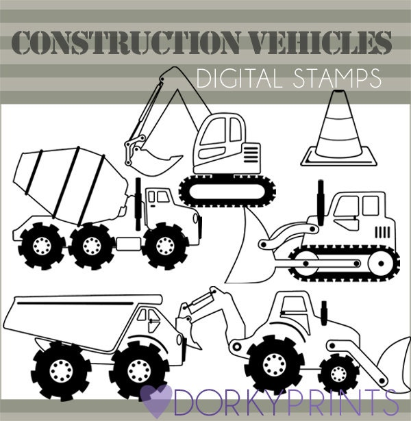 Line Art Limited : Construction vehicles clipart personal and limited
