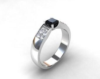 Black diamond ring, engagement ring, white gold, diamond engagement, princess cut, micro pave, unique, black
