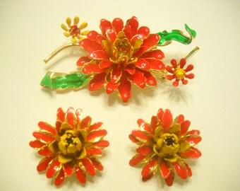 Vintage ENAMEL FLOWERS, Brooch and Clip Earrings (9644)