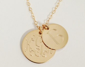 Gold Filled Mothers Necklace Monogrammed with Two, Three, Four or Five Discs