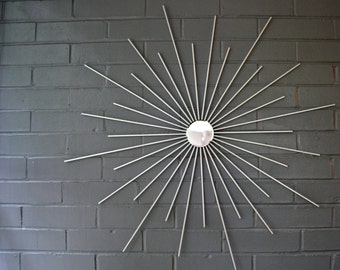 Square Steel Metal Starburst Sunburst 30 Inch Wall Art Not Wood Sun Mirror Atomic Modern Retro House Home Staging Custom Available Hand Made