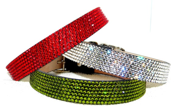 "Custom 16-19"" Crystal Pet Project Collar by Glass Slippers w/ Swarovski +70 color choices 3/4"" width Artisan crafted large Dog or Cat Jewels"