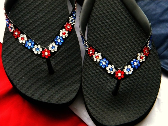 Patriot Flip Flops Crystal Flower Havaianas flat Cariris Wedge heel Custom w/ Swarovski Rhinestone USA France Aussie Red White Blue Shoe