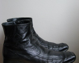 Men's Black Leather Winklepicker Mod Ankle Boots