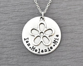 Child Name Necklace, Flower necklace, Hand Stamped Personalized Necklace, kids, custom jewelry, gifts for mother, kids name jewelry,keepsake