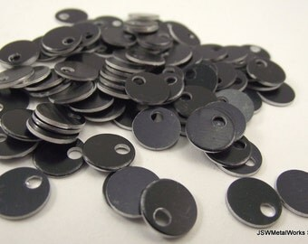 100 0.35 Inch Black Anodized Aluminum Tags, Small Blank Discs, 0.35""
