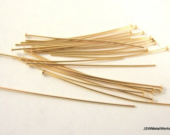 Gold Headpins, 2 inch, 21 Gauge, Gold Findings, Head Pins