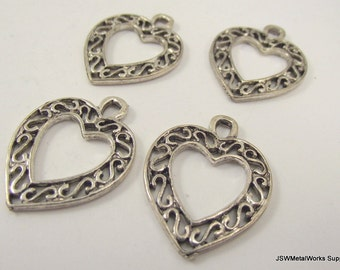 Antiqued Silver Filigree Heart Pendant, Large Silver Heart Charm, 30 x 24 mm, 4 Pieces