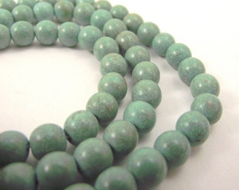 Green Chalk Turquoise Beads, Round Beads, 5 - 6 mm, 15 Inch Strand, Whole Strand