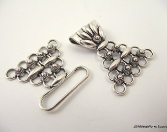 Multistrand Pewter Toggle Clasp, 5 Strand Clasp, Large Hook Clasp
