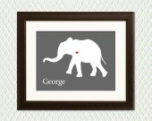 Personalized Elephant Nursery Wall Decor - Room Decoration for a  Boy or Girl - Elephant Silhouette with a Heart