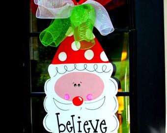 Santa Door Hanger, Christmas Wreath, Christmas Door Decor, Christmas Decor, Santa WreathHoliday Door Decoration