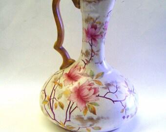 Rare Antique Royal Adderley Bone China Floral Design Pitcher or Ewer