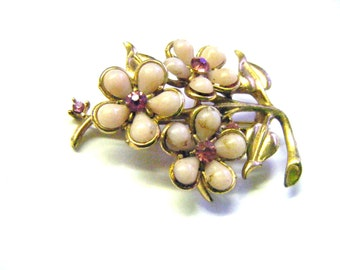 Vintage Pink Flowers on Gold Leaves With Pink Stone Centers Brooch or Pin