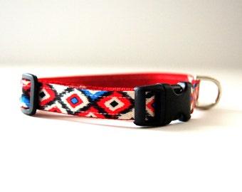 Red Geometric Dog Collar Adjustable Sizes (XS, S,  M)