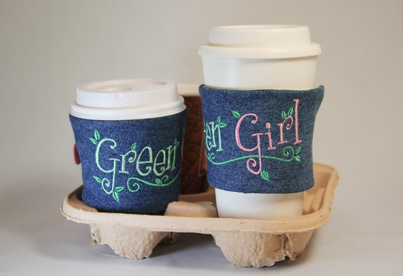 Reversible Cup Cosy Sleeve in Upcycled Denim - Environmental Green Girl