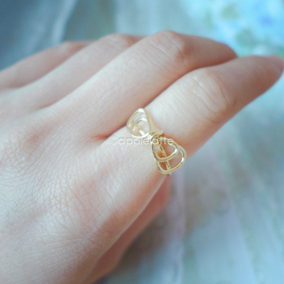 cute wire bow ring in gold or silver bow ring ribbon by