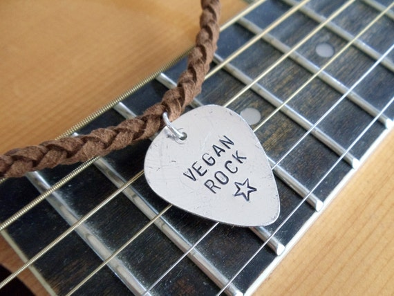 RESERVED FOR DANSTHEMAN // vegan rock star necklace // hand stamped guitar pick pendant