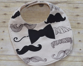Mustache Wheres my Stache Bib withBlack Bow Tie and Off White Fleece Backing