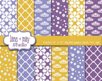 digital papers - princess theme patterns in gold yellow and purple - INSTANT DOWNLOAD