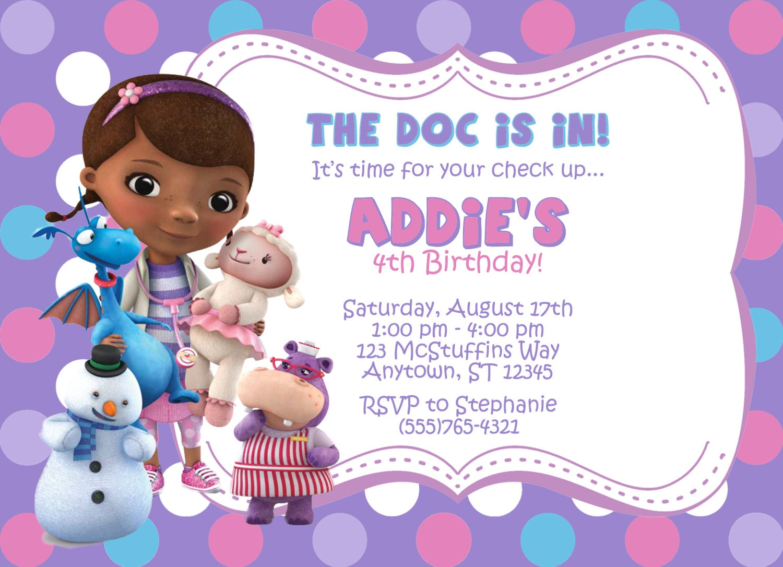 Doc Mcstuffins Birthday Invitations Free Images
