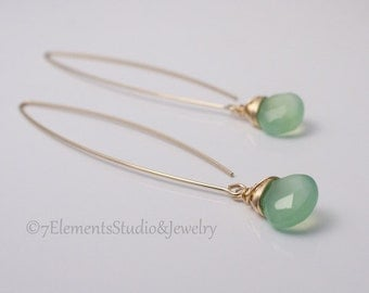 Green Chalcedony and 14K Gold Fill Earrings