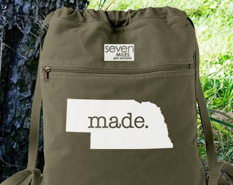 Nebraska NE Made. Canvas Backpack Cinch Sack