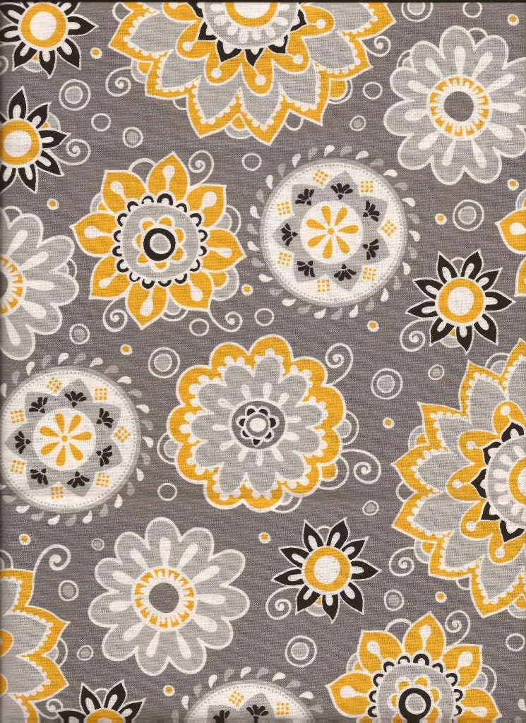 fabric gray and yellow floral fabric by the yard quilt. Black Bedroom Furniture Sets. Home Design Ideas