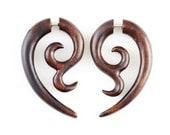 """Fake Gauge Earrings - Wood Earrings Fake Piercing - Wood Spiral Earrings """"Datura Flower"""" Tribal Earrings - Fake Plugs Fake Gauges"""