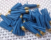 20 Pieces 60mm Royal Blue  Suede Leather Tassel With Gold Color Plastic Cap