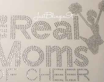 The Real Moms of Cheer with Jumping Cheerleader Bling Iron On Rhinestone Transfer