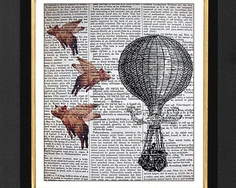 """Flying Pigs """"Hot Air Baloon"""", Flying Pigs, Flying Pig Artwork, Flying Pigs, Print of Flying Pig, Flying Pigs Humor, Print of Flying Pig"""