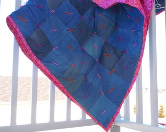 Blue Jean Quilt with pink ombré backing