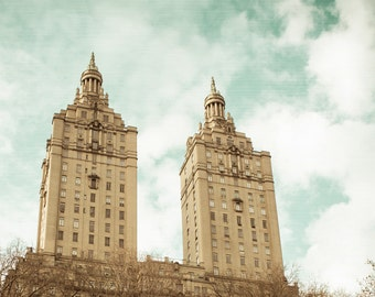 San Remo Photo - NYC Photography - Central Park - San Remo Building - Twin Towers - Apartments - New York City - Vintage, Retro, Teal