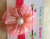 You Pick Color- Vintage Lace & Pearl Headband- Baby Headband, Toddler Headband, Newborn Headband