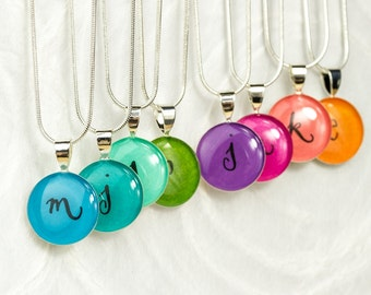 Personalized Bridesmaids Gift - Colorful Initial Necklace, Unique Bridesmaids Jewelry, Handmade Gift for Bridesmaids, Rainbow Colors