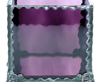 Amethyst and Marbled Stained Glass Votive Tea Light Holder