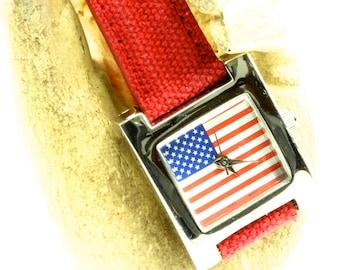 Patriotic Red White and Blue Silver Case Quartz Watch - Gruen Watch