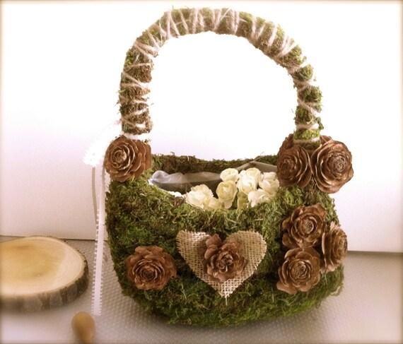 Flower Girl Basket Montreal : Items similar to rustic flower girl basket wedding