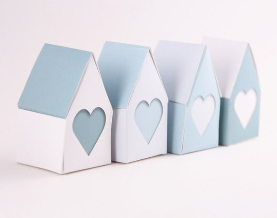 Little Houses Big Hearts, Wedding Favor Gift Boxes, Baby Shower Gift Box, DIY printable Pastel Blue Hearts, Bridal Party Gift Boxes,