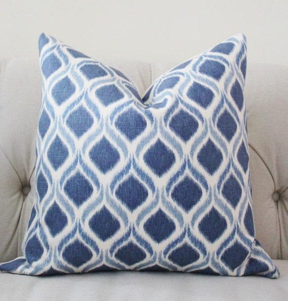 Medium Blue Throw Pillows : Blue Ikat Pillow Blue White Pillow Medium Blue Diamond