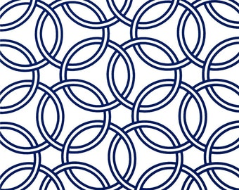 Table Runner in Navy on White Swirls / Ready to Ship