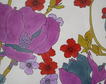 Original hand painted French 1960's floral gouache and pencil textile design purple and teal Lyon studio