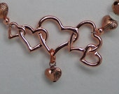QUEEN of HEARTS Hand Tooled Copper Necklace and Earrings Accessory Gift