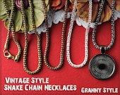 10 - 20 Inch Snake Chain Necklaces in Vintage Style Design - Choose from Silver, Antique Bronze, Antique Copper, Gunmetal