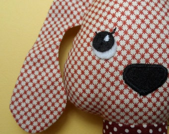 Cotton cloth doll dog  - retro prints