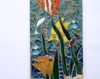 Mosaic Fish Wall Plaque Underwater Scene nautical bathroom angel fish beach sea holiday vacation gift for home OOAK made to order bespoke