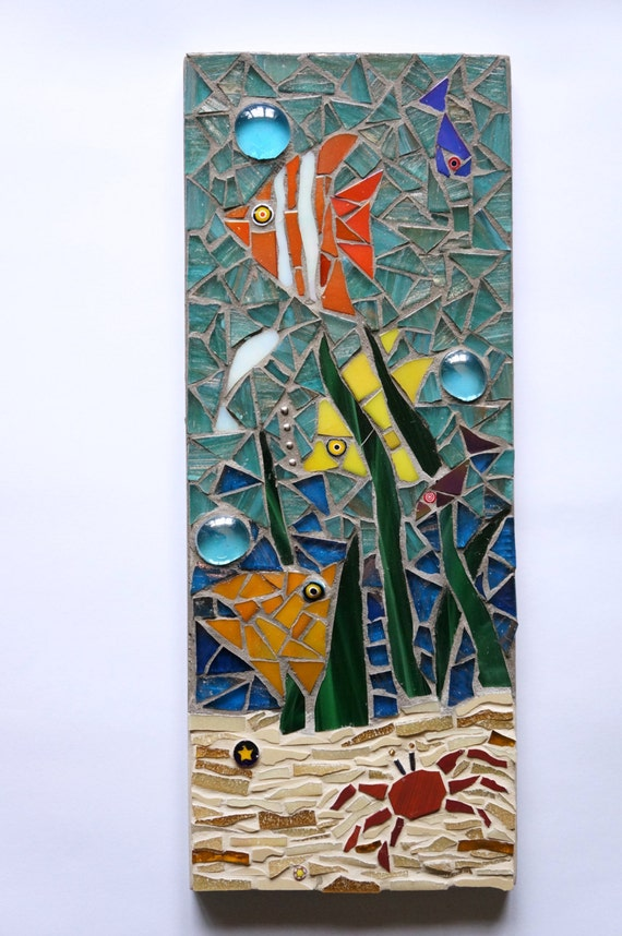Mosaic Fish Wall Plaque Underwater Scene Nautical Bathroom