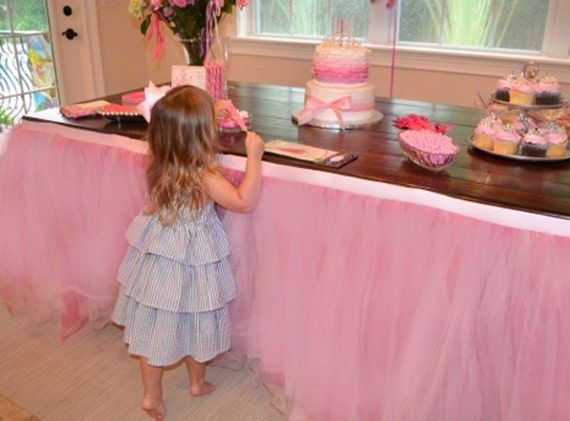 Custom Tulle Tutu Table Skirt Wedding Birthday Baby Shower By