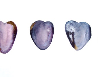 Hearts Watercolor ink Hearts Pebbles Hearts Stones Hearts Drawing Ocean Decor Hearts Pink Grey Gold Contemporary Art Romantic Gift Art Love